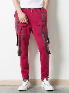 Image of Pantalone da uomo Sweat Pant in cotone bordeaux con cavallo bass