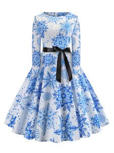 Image of Abito vintage blu a maniche lunghe con stampa di Natale