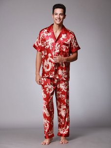 Image of 2 pezzi pigiama set seta manica corta manica estiva per uomo