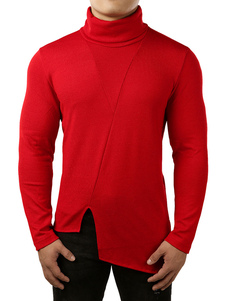 Image of Maglione da uomo Pullover maglione a collo alto con taglio irreg
