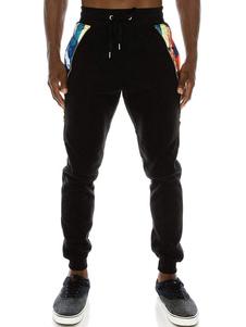 Image of Pantalone sportivo da uomo in cotone elasticizzato con stampa t-