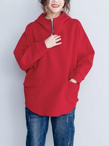 Image of Donna Felpa con cappuccio Tasche con zip Pullover di lana oversi