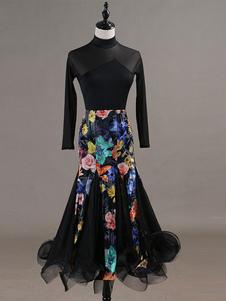 Image of Costume da ballo latino per donna a maniche lunghe Tuta a fiori