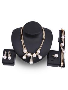 Image of Set di gioielli vintage Collana di perle Collana Orecchini pende
