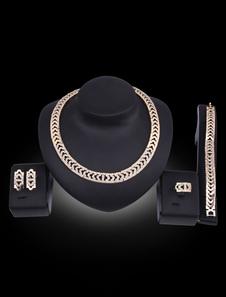 Ensemble de bijoux en or avec strass collier boucles d'oreil