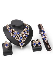 Ensemble de bijoux de perles collier déclaration strass boucles