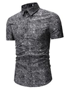 Image of Camicia a maniche corte Camicia casual uomo cotone grigio stampa
