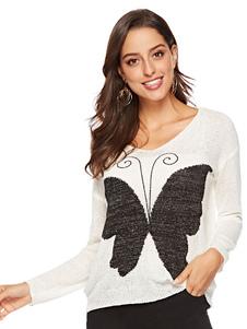 Image of Maglione pullover bianco Maglione lavorato a farfalla oversize a