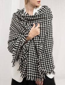 Image of Sciarpa coperta di lana Sciarpa oversize in tessuto a quadri ove