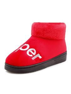 Image of Pantofole invernali da donna rosse in peluche con lettere rotond