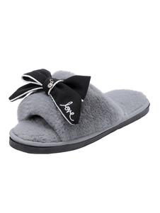 Image of Pantofole invernali grigie Pantofole a punta aperta per le donne