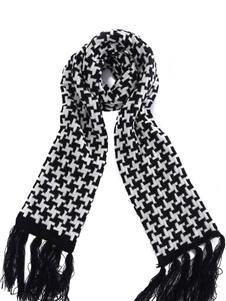 Image of Sciarpa di cotone uomo Sciarpa pied de poule nera sciarpa oblung
