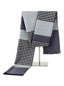 Image of Sciarpa di cotone color block sciarpa con motivo pied de poule