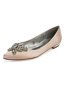 Image of Satin Wedding Flats Champagne Pointed Toe Rhinestones Butterfly