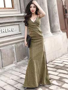 Image of Sexy abito da maxi abito da sera senza maniche cinghie