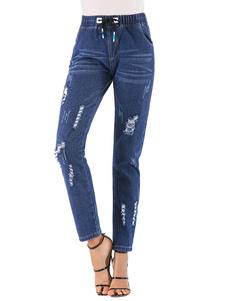 Image of Jeans in denim blu con coulisse angosciata effetto jeans strappa