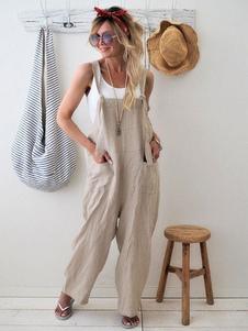 Image of Tuta da donna a gamba larga in cotone con tuta ampia in lino con