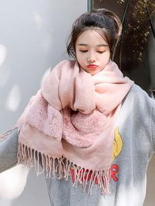 Image of Sciarpe coperte oversize con pelliccia e finta pelliccia con fra