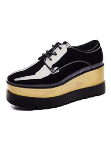 Chaussures de sport pour femmes Black Square Toe Lace Up Platfor