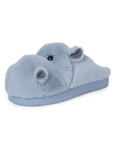 Image of Blue Winter Shoes Peluche Round Toe Hippo Pattern Backless House