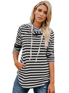 Image of Felpa a righe da donna T-shirt a maniche lunghe con coulisse e m