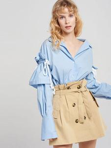 Image of Top blu oversize con maniche lunghe con coulisse e maniche lungh