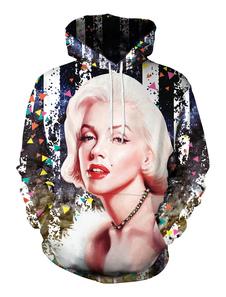 Image of Felpa donna casual Marilyn Monroe Print Pullover con cappuccio c