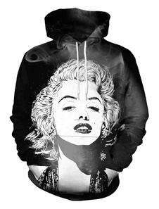 Image of Felpa nera da donna Marilyn Monroe Stampa Pullover con cappuccio