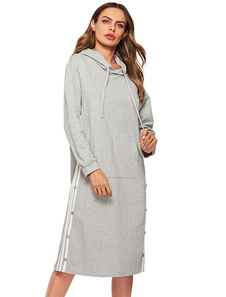 Image of Felpa oversize con cappuccio da donna a maniche lunghe a righe l