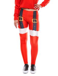 Image of Pantaloni rossi a vita bassa con patchwork di Natale