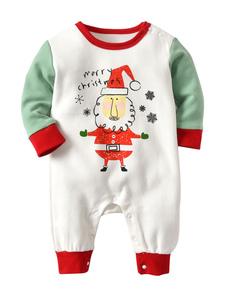 Image of Baby Pigiama Natale Bianco stampato Pagliaccetti per bambini Hal
