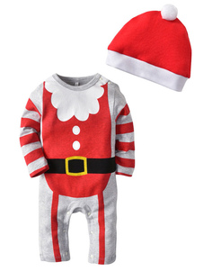 Image of Baby Pigiama Natale Outfit Striped Babbo Natale Bambini pagliacc