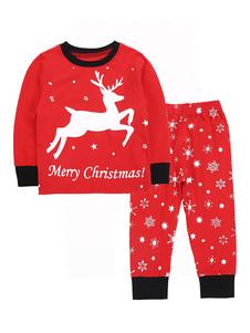 Image of Pantaloni stampati per bambini in pigiama di Natale e parte supe