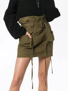 Image of Gonna aderente con cintura a vita alta con tasche a portafoglio