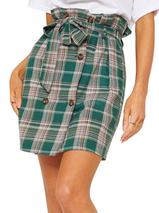 Image of Gonna di plaid a vita alta con bottoni in velluto verde