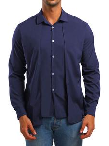 Image of Camicia Uomo Casual Camicia Button Down Down Falso in due pezzi
