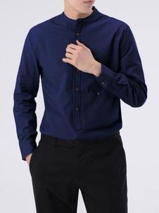 Image of Camicia a maniche lunghe per uomo casual camicia colletto con bo