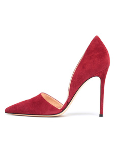 Image of Red Dress Shoes Suede Punta a punta Tacco a spillo Decoltè Donna