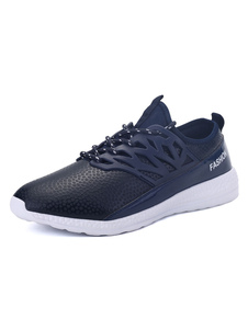 Image of Blue Men Sneakers Mesh Round Toe Lace Up Sport Shoes Casual Shoe