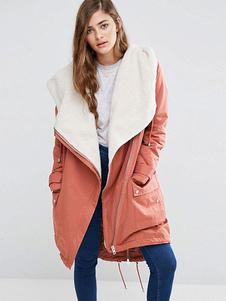 Image of Cappotto con cappuccio da donna Cappotto invernale con zip con c