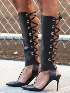 Image of Sandalo nero con tacchi alti e tacchi alti con tacco a punta per
