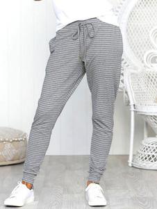 Image of        Pantaloni casual a vita alta elasticizzati a righe pantaloni gri