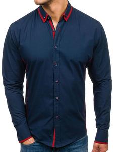 Image of Camicia Uomo Casual Camicia a maniche lunghe slim fit abbottonat