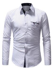 Image of Camicia casual da uomo con camicia bianca a maniche lunghe con s