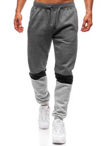 Image of        Pantalone casual da uomo in cotone color block con imbottitura c