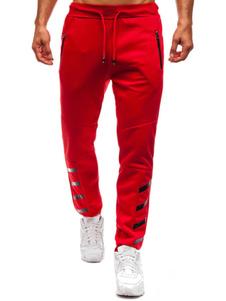Image of Pantalone Jogger da uomo in cotone rosso con imbottitura aderent