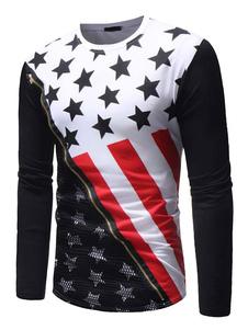 Image of T-shirt manica lunga con stampa patriottica USA T-shirt da uomo
