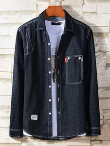 Image of Camicia casual uomo manica lunga design camicia cucita abbottona