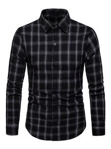 Image of Camicia casual da uomo Camicia a maniche lunghe slim fit nera sc