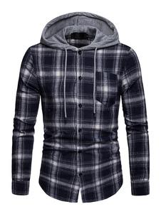 Image of Camicia a maniche lunghe Camicia casual uomo con coulisse in tar